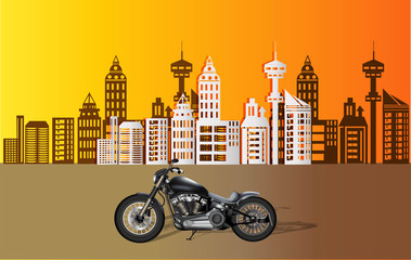 Motorcycle on city background