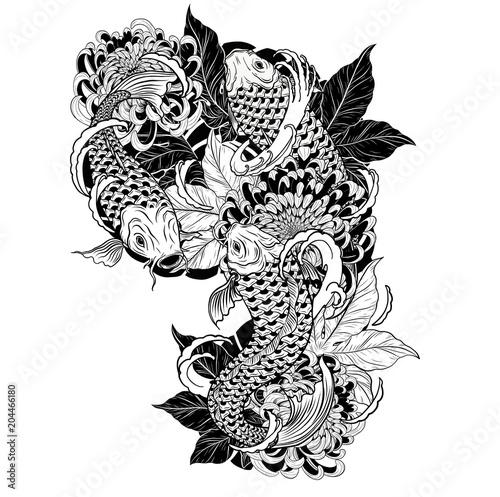 carp fish and chrysanthemum tattoo by hand drawing tattoo art highly