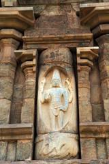 Shiva imerging from a linga, Lingodhbhava, niche on the western wall, Brihadisvara Temple, Gangaikondacholapuram, Tamil Nadu