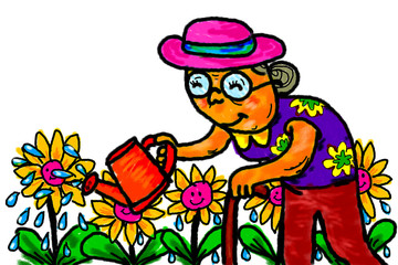 Poster Pirates Senior Woman Gardener Watering Flowers