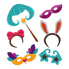 Carnival masks and vector masquerade accessories