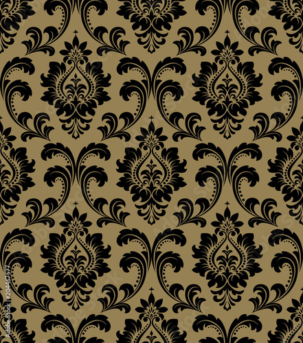 Wallpaper In The Style Of Baroque A Seamless Vector Background Gold And Black Floral