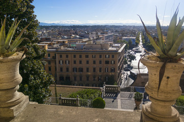 Vatican, ITALY - SEPTEMBER 6, 2016. St Paul's Cathedral. The view from the window of the museum on the city streets of Rome