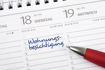 Eintrag im Kalender: Wohnungsbesichtigung