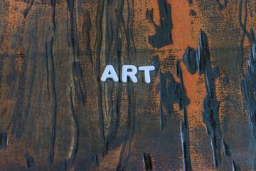 the word art written in white block letters