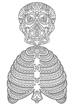 hand drawn mexican sugar skull with pattern as isolated vector file