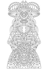hand drawn mexican sugar skull Skeleton of bride with bouquet, flower wreath with pattern on the face as isolated vector file
