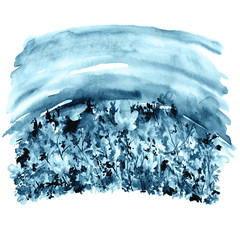 Watercolor painting, landscape. A picture of a flower field against a blue sky. Blue, purple flowers, cornflowers, wild grasses, plants. Wild landscape. Vintage illustration for your design