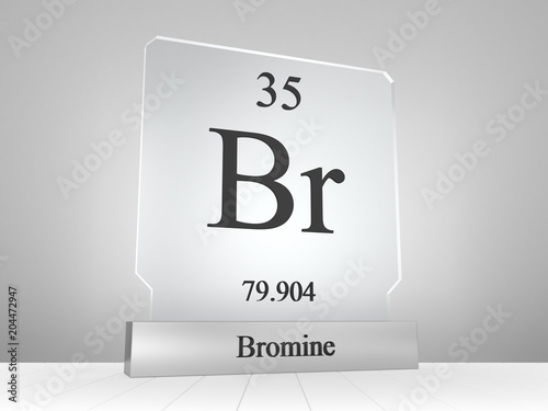 Bromine Symbol On Modern Glass And Metal Icon Stock Photo And