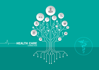 Medical background paper art with icons heart representing medical and healthcare topics in hand.concept tree