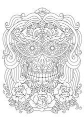 Hand drawn Skull of girl with Flowers Pattern.Mexican holiday Day of the Dead. isolated vector file