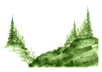Watercolor group of green trees. Green, summer forest, landscape.  Drawing on white isolated background. Abstract logo, splash of green paint, stylish  illustration. Slope, hill, forest landscape.