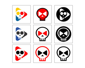 skeleton skull play image vector set