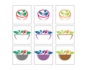 salad cuisine culinary vegan vegetable bowl image vector icon logo image set