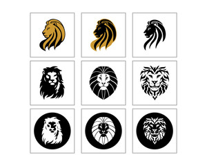 lion head silhouette image vector icon set