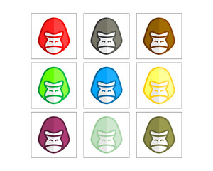 colorful gorilla monkey ape chimp primate head image vector icon logo set