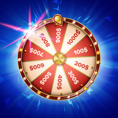 Fortune Wheel Poster Vector. Spinning Lucky Roulette. Prize Concept Background. Casino Club Illustration