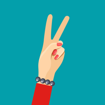 Female hand showing Peace or V shape gesture. Vector flat style illustration