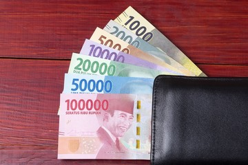 Indonesian money in the black wallet