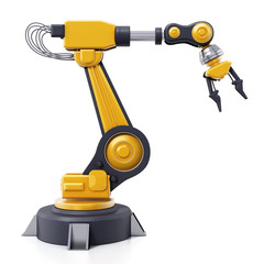 Robotic arm isolated on white background. 3D illustration
