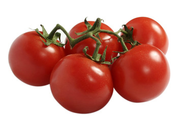 fresh red tomatoes isolated on white background