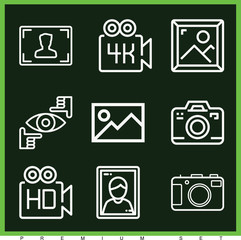 Set of 9 photography outline icons