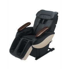 Electrical massage chair with black leather, isolated on white background with clipping mask.