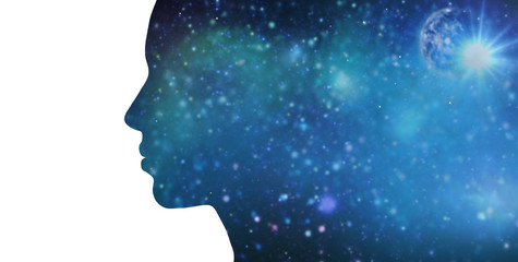 mindfulness and harmony concept - black silhouette of woman over blue space background
