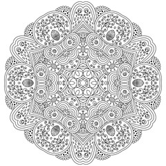 Vector zentangle template mandala for decorating greeting cards, coloring books, art therapy, anti stress, cover of notebook, print for t-shirt and textile.
