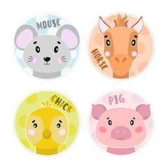 Cartoon set Vector Animals farm face,four objects mouse, pig, horse, chick.