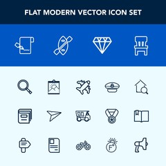 Modern, simple vector icon set with picture, pen, document, email, interior, comfortable, travel, flight, hat, education, library, captain, book, dumper, cap, estate, online, paper, dump, home icons