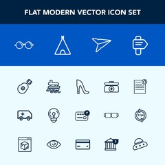 Modern, simple vector icon set with emergency, ocean, eyeglasses, medical, ambulance, finance, guitar, light, direction, estate, electricity, high, money, car, white, rescue, boat, cash, kit icons