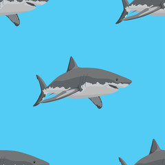 Great white sharks. Seamless Pattern. Vector illustration