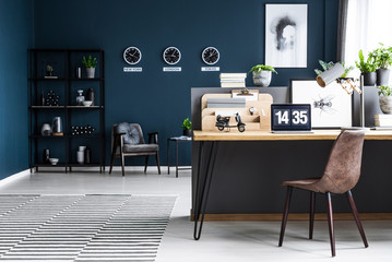 Dark home office interior