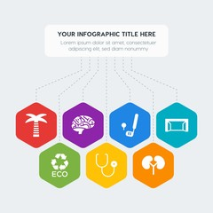 Flat geometric health, sports, nature infographic steps template with 7 options for presentations, advertising, annual reports