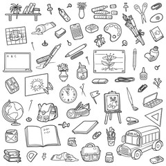 Cartoon set of school objects. Collection of stationery and items for study