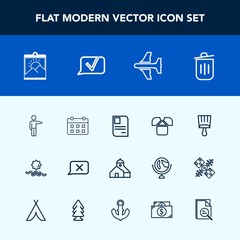 Modern, simple vector icon set with calendar, chat, airplane, construction, photo, picture, people, identity, schedule, landscape, hand, frame, travel, bin, garbage, building, time, brush, sun icons