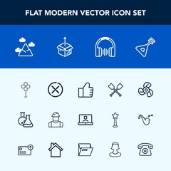 Modern, simple vector icon set with package, tool, concept, sign, cooler, folk, construction, blue, builder, web, laboratory, communication, video, music, boat, internet, cancel, equipment, find icons