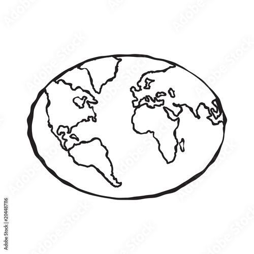 Single Black Sketch Of Earth Globe Illustration Planet Earth