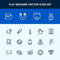 Modern, simple vector icon set with modern, fashion, office, sofa, file, folder, mobile, wear, furniture, cell, interior, sign, field, work, zoom, space, data, business, blank, appliance, craft icons