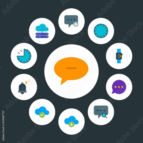 cloud and networking, chat and messenger, time Infographic Circle