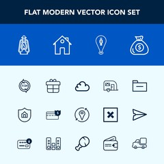 Modern, simple vector icon set with financial, map, vehicle, home, property, support, pin, vintage, file, service, protect, operator, transportation, traffic, present, business, bank, real, box icons