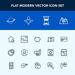 Modern, simple vector icon set with young, chat, photography, orbit, sand, increase, money, location, real, home, astronomy, road, landscape, smile, investment, travel, tape, sea, face, property icons