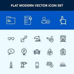 Modern, simple vector icon set with retro, speech, paper, ocean, click, fashion, urban, social, railway, bubble, vehicle, office, folder, pipe, car, internet, hand, finger, sunglasses, animal icons