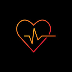 Heartbeat vector colored icon - heart rate outline symbol