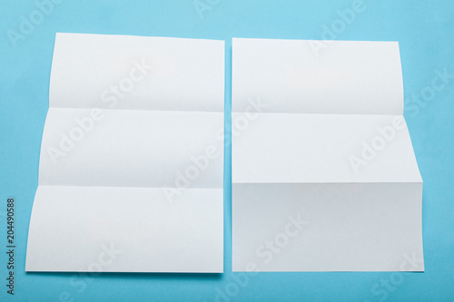 empty tri fold menu mockup white paper folder stock photo and