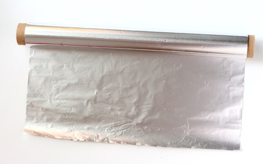 unfolded aluminum foil on roll