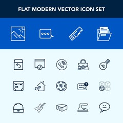 Modern, simple vector icon set with bag, sign, leather, order, scenery, file, instrument, object, casino, fashion, musical, music, ring, house, travel, people, page, paper, landscape, pretty icons