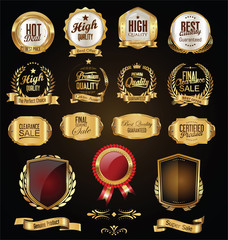 Golden badges and labels retro vintage design collection