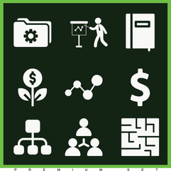 Set of 9 business filled icons